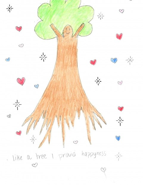 A drawing of a tree with hearts and stars around it