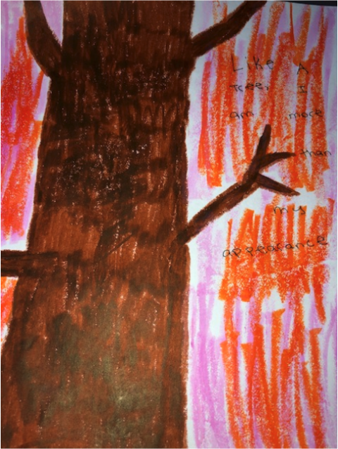 Image of a tree drawn with markers